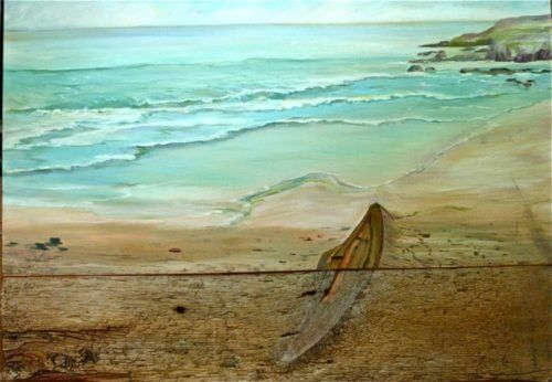 Jean Marshell Beached 28x40 reclaimed wood oil