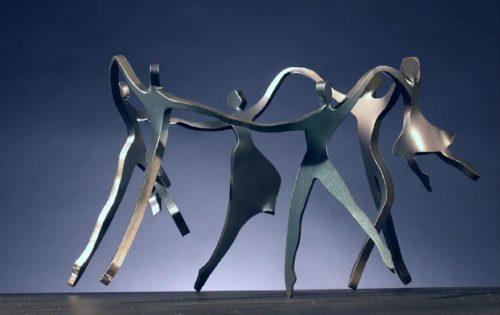 Boris Kramer Dancing Family with Four Children Steel