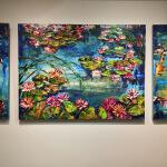 Maya Eventov Pond with Koi Triptych