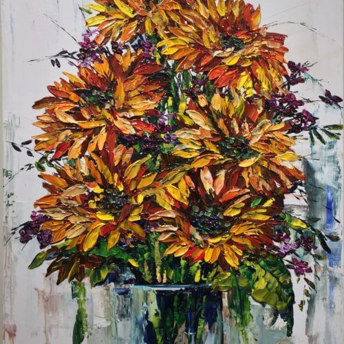 Maya Eventov Flowers Daisies-in-Vase 48x30