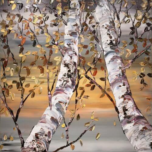 Maya Eventov Looking Up Grey Birch 2 48x36