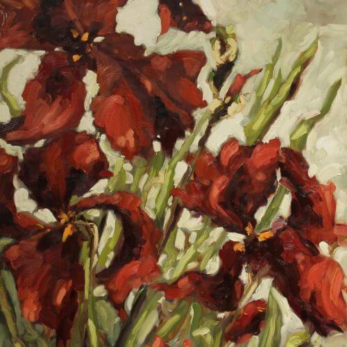 Ann Willsie Maroon Irises 36x24