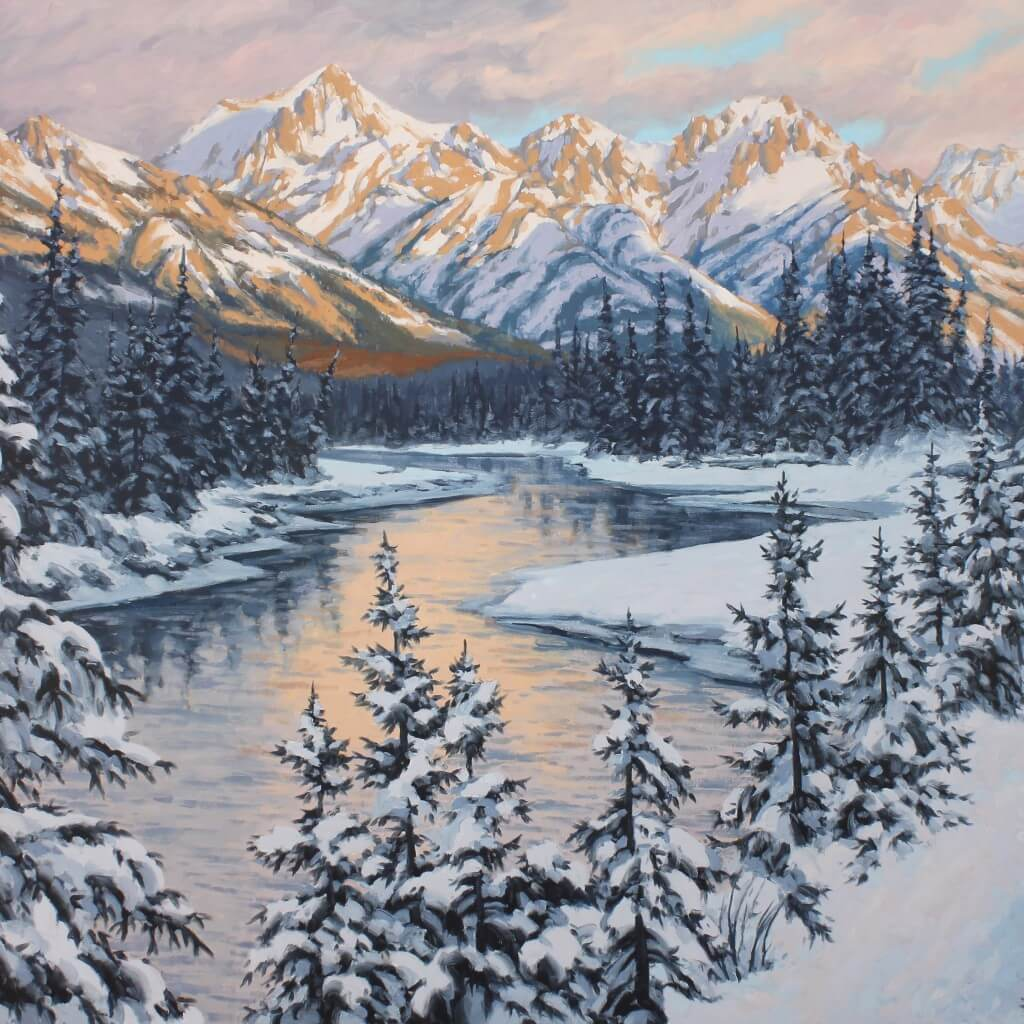 Robert E Wood Bow River Sunset 48x60